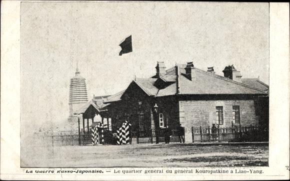 Ak Russisch Japanischer Krieg, Quartier général Kouropatkine à Liao Yang