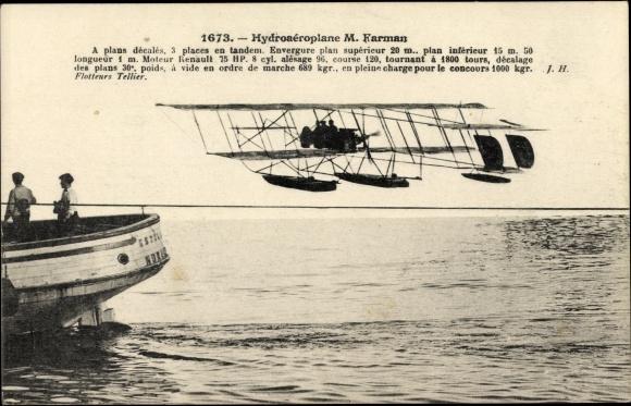 Ak Hydroaéroplane Farman, Hydravion, Wasserflugzeug, Flugpioniere