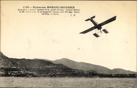 Ak Hydravion Morane Saulnier, Monoplan, Wasserflugzeug, Flugpioniere