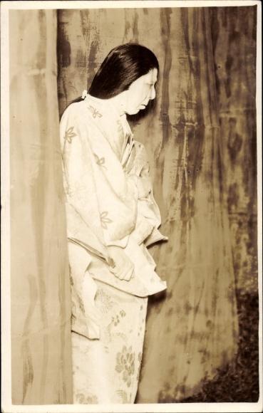 Foto Ak Japan, Kabuki, Japanisches Theater, Theaterschauspielerin, Weiße Gesichtsbemalung