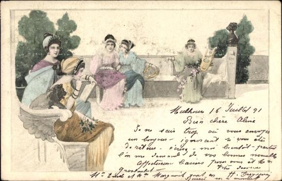 Künstler Ak Frauen beim Musizieren im Freien, Handharfe, Tamburin
