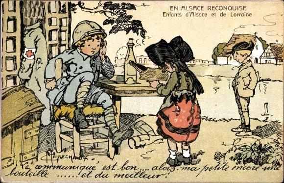 Künstler Ak Marechaux, En Alsace Reconquise, Enfants d'Alsace et de Lorraine, I. WK