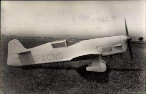 Ak Sportflugzeug Percival Mew Gull auf dem Rollfeld, G-ACND