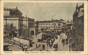 Ak București Bukarest Rumänien, Piata Teatrului, Calea Victoriei, Theaterplatz, Victoriestraße