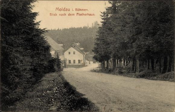 Ak Moldava Moldau Reg. Aussig, Blick nach dem Fischerhaus