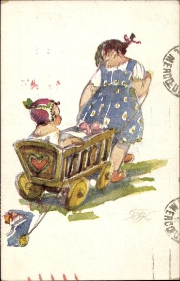 Künstler Ak Fiserova Kvechova, M., Nase deti, Zwei Kinder, Holzwagen, Tschechoslowakei