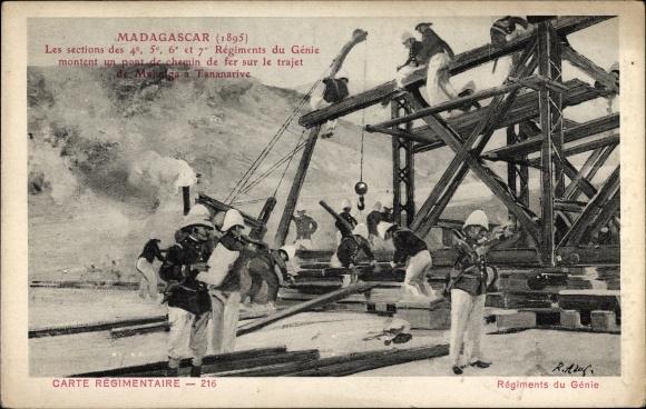 Ak Tananarive Madagaskar, Sections des 4e,5e,6e et 7e Régiments du Génie, Pont de chemin en 1895