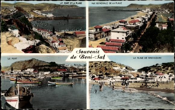 Ak Beni Saf Algerien, Le Port et la Plage, Rachgoune, Hafen, Strand, Badegäste