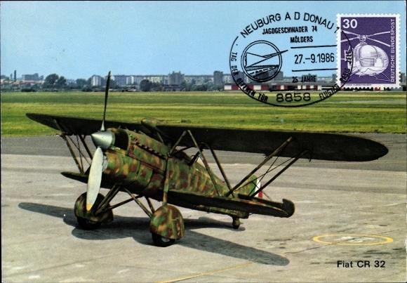 Ak Fiat CR.32, Italienisches Jagdflugzeug, Doppeldecker, Propellermaschine