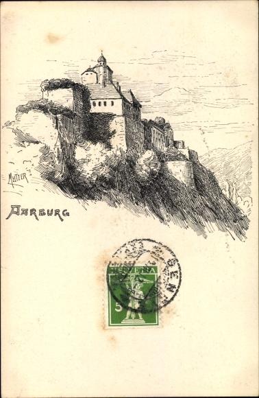 Künstler Ak Aarburg Kt. Aargau Schweiz, Ansicht der Burg