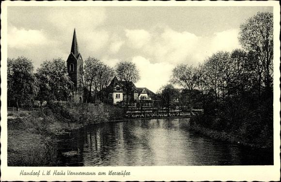Ak Handorf Münster in Westfalen, Haus Vennemann am Weserufer mit Blick zur Kirche