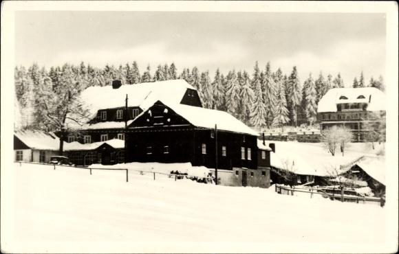Ak Oberbärenburg Bärenburg Altenberg, Winter, HO Gaststätte Zum Bären