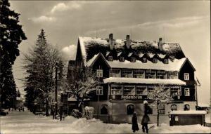 Ak Oberbärenburg Bärenburg Altenberg, Ferienheim Friedenswacht, Winter
