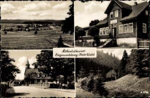 Ak Siegmundsburg Neuhaus am Rennweg Thüringen, Gaststätte Hiftenberg, Inh. F. Siegel, Ortsblick