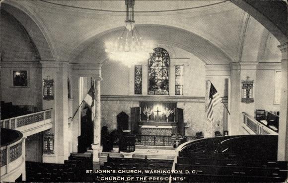 Ak Washington DC USA, St. John's Church, Church of the Presidents, Innenansicht