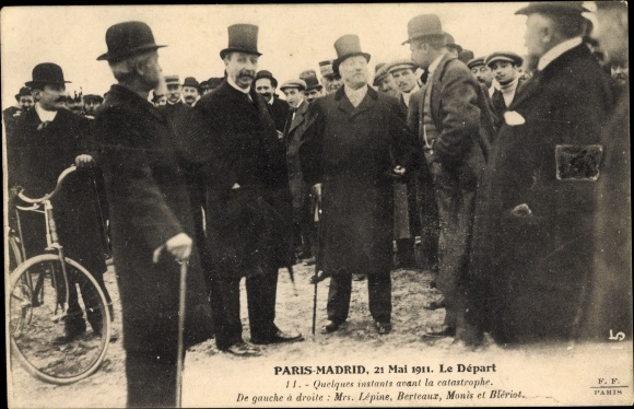 Ak Raid Paris-Madrid, 21 Mai 1911, Le Départ, Avant la catastrophe, Lépine, Berteaux, Monis, Blériot