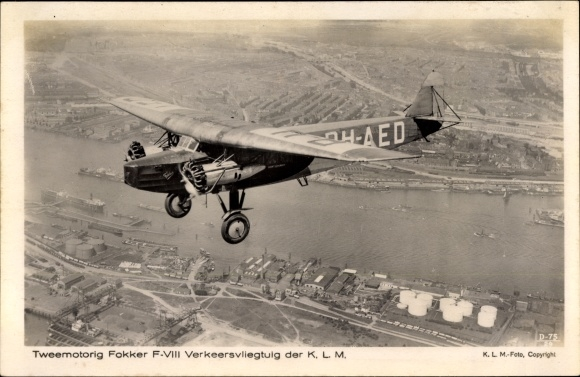 Ak Tweemotorig Fokker F.VIII Verkeersvliegtuig der KLM, PH-AED, Verkehrsflugzeug