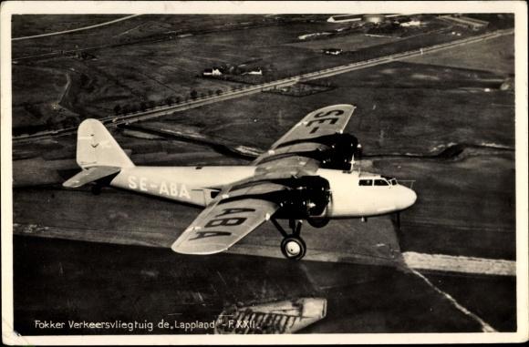 Ak Fokker Verkeersvliegtuig de Lappland, Fokker F.XXII, SE-ABA