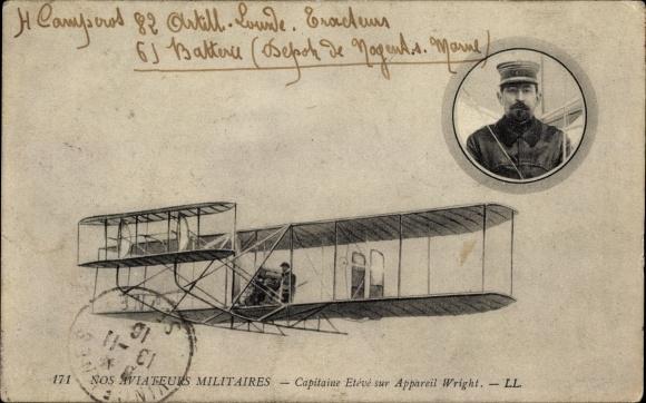 Ak Nos Aviateurs Militaires, Capitaine Etévé sur Appareil Wright, Biplan, Pilot, FlugpionierLitho