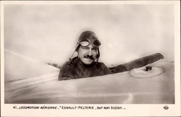 Ak Locomotion Aérienne, Esnault-Pelterie, sur son biplan, Pilot, Flugpionier, Pilotenbrille