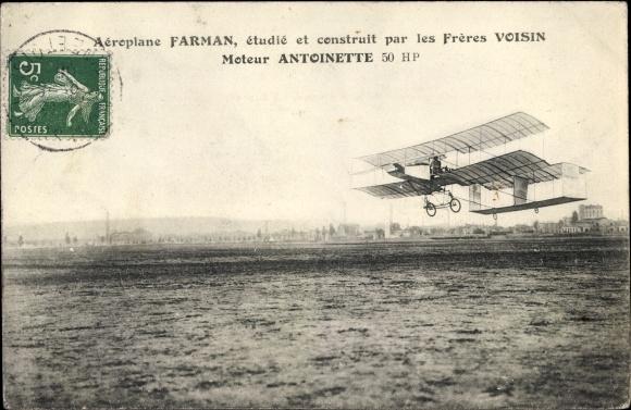 Ak Aéroplane Farman, étudié et construit par les Frères Voisin, Moteur Antoinette 50 HP
