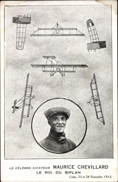Ak Aviateur Maurice Chevillard, Le Roi du Biplan, Pilot, Flugpionier