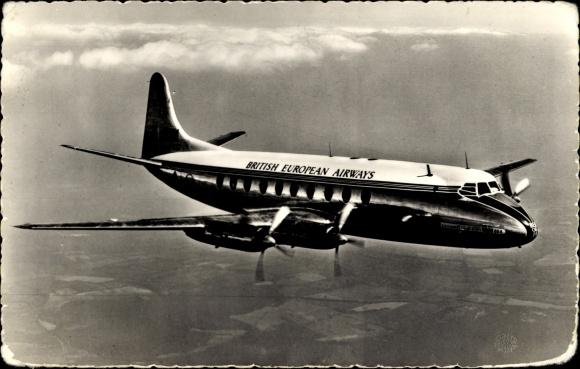 Ak Vickers Armstrongs Viscount 700, British European Airways, Passagierflugzeug