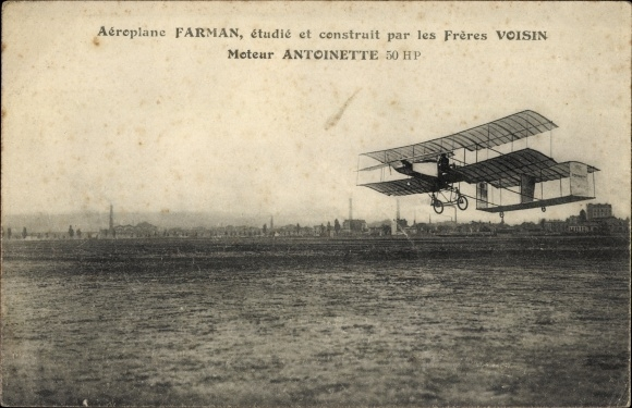 Ak Aeroplane Farman, construit par les Freres Voisin, Moteur Antoinette, Biplan, Flugpioniere