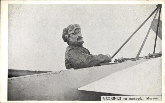Ak Vedrines sur monoplan Morane, Pilot, Flugpionier