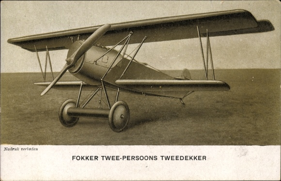 Ak Fokker Twee Persoons Tweedecker, Doppeldecker der niederländischen Flugzeugfabrik