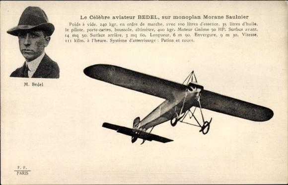 Ak Celebre aviateur M. Bedel, sur monoplan Morane Saulnier, Flugpionier