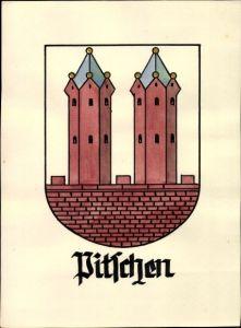 Handgemalt Wappen Ak Byczyna Pitschen Oberschlesien, Mauer, Türme