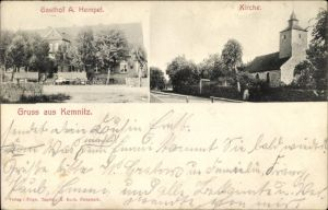 Ak Kemnitz Pritzwalk in der Prignitz, Gasthof A. Hempel, Ansicht der Kirche