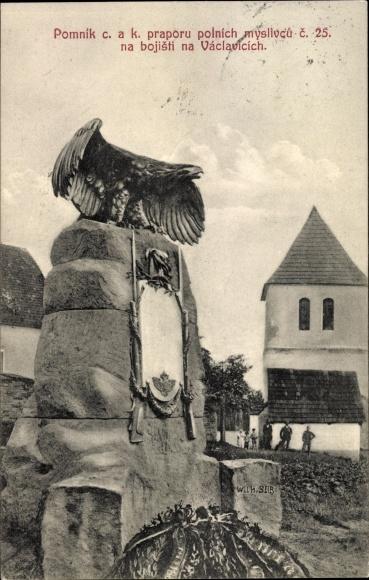 Ak Václavice Wetzwalde Hrádek Nisou Grottau Reg. Reichenberg,Pomnik c.a.k. pr. polnich myslivcu c 25