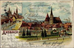 Halt gegen das Licht Litho Ansbach in Mittelfranken Bayern, Reitbahn, Partie vom Ort, Meteor