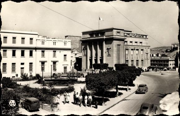 Ak Mostaganem Algerien, Le nouveau Square et le Palais Consulaire, Platz, Konsulat