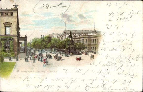 Litho Berlin Mitte, Unter den Linden, Reiterdenkmal Friedrich des Großen, Unter den Linden