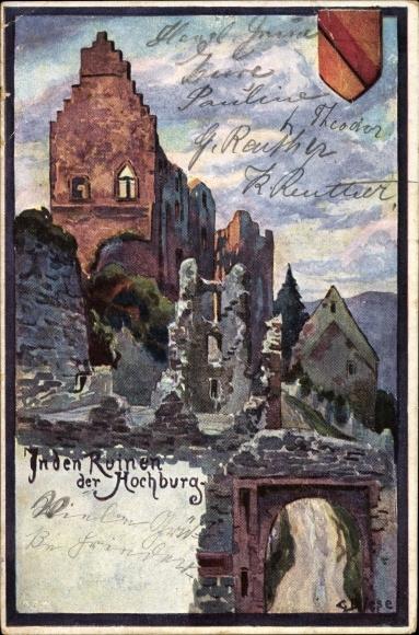 Künstler Ak Biese, C., Emmendingen in Baden Württemberg, In den Ruinen der Hochburg