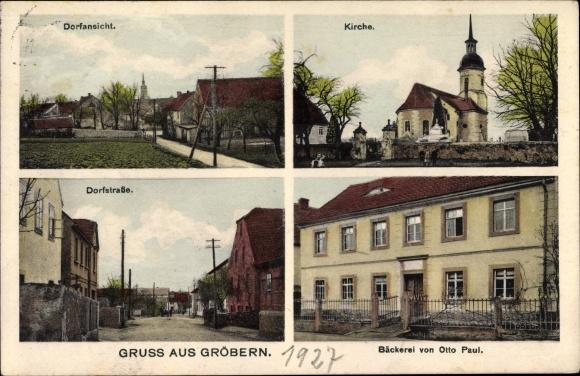 Ak Gröbern Niederau Sachsen, Dorfansicht, Kirche, Dorfstraße, Bäckerei Otto Paul