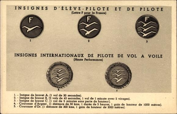 Ak Insignes d'Élève Pilote et de Pilote, Insignes Internationaux de Pilote de Vol à Voile, Planeurs