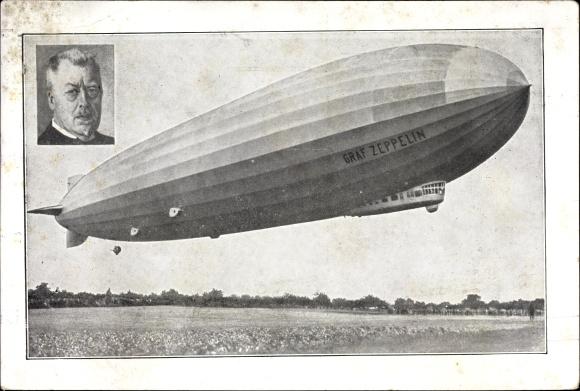 ak luftschiff graf zeppelin lz 127 hugo eckener luftfahrtpionier nr 1436867 oldthing flugzeuge. Black Bedroom Furniture Sets. Home Design Ideas