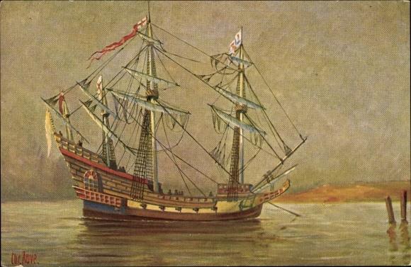 Künstler Ak Rave, Chr., Marine Galerie 91, Englisches Kriegsschiff, 16. Jahrhundert