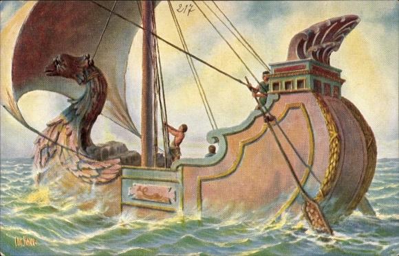Künstler Ak Rave, Chr., Marinegalerie Nr. 217, Römisches Handelsschiff vor Chr.