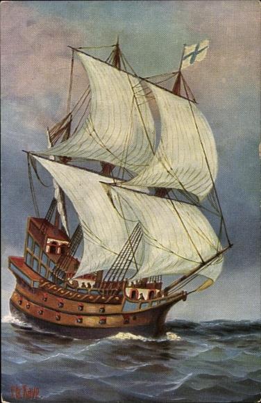 Künstler Ak Rave, Chr., Marine Galerie 179, Französisches Kriegsschiff, 16. Jahrhundert