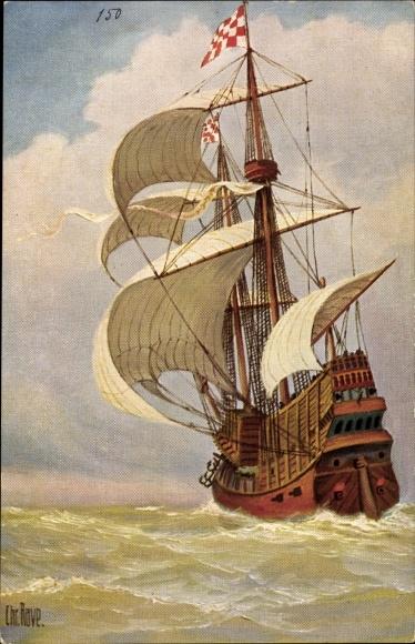 Künstler Ak Rave, Chr., Marine Galerie 150, Brabantisches Kriegsschiff, 1520