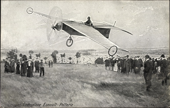 Ak L'Aéroplane Esnault-Pelterie, Monoplan, Ausläufer, Seitenräder, Pilot, Flugpionier