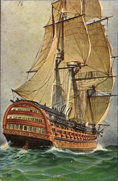 Künstler Ak Rave, Chr., Marinegalerie 16, Französisches Linienschiff, Dreidecker, Ocean, 1815