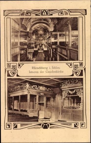 Jugendstil Ak Jelenia Góra Hirschberg Riesengebirge Schlesien, Inneres der Gnadenkirche, Logenpartie