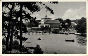 Ak Mrzeżyno Deep Pommern, Blick zum Strandhotel, Wasserseite