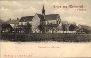 Ak Marienfeld Harsewinkel in Nordrhein Westfalen, Blick auf Ortschaft und Kirche von Süd Osten